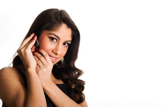Beautiful girl speaking in telephone, using a headset
