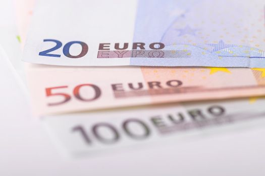 Euro banknotes focus on 20