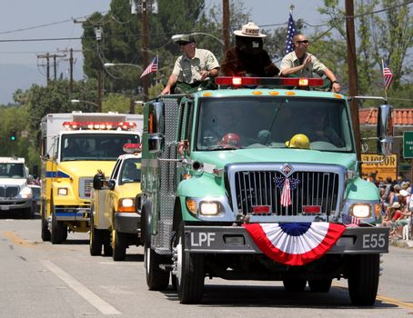 Ojai, CA - JULY 3 : Annual 4th of July parade in Ojai one day early this year July 3, 2010 in Ojai, CA.