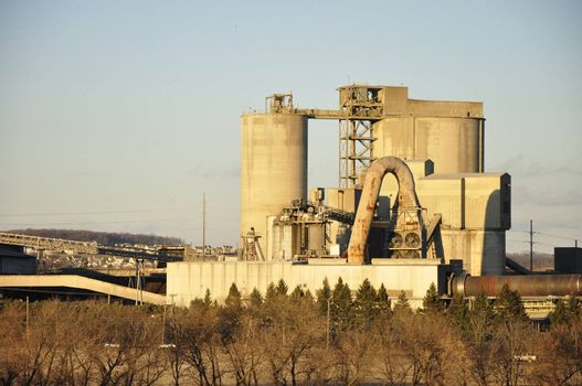 big cement factory in late afternoon in Nazareth, Pennsylvania