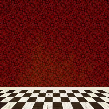 A fantasy room interior backdrop with checkered flooring and a vintage styled wallpaper pattern.
