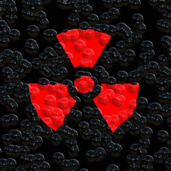 bright red nuclear warning symbol on eroded background