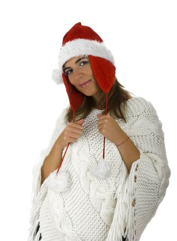 Christmas season! Different poses of a beautiful woman with a Christmas clothes