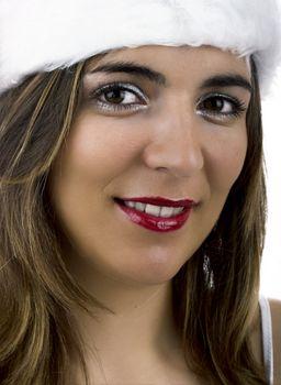 Christmas season! Different portraits of a beautiful woman.