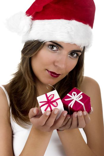 Christmas season! Different poses of a beautiful woman with small gifts on the hands.  (Focus is on the face)