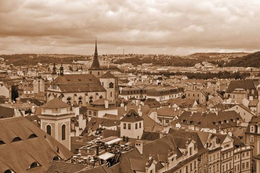 Overcast sky above the roofs of old Prague