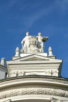 Sculptural Composition on Background Blue Sky