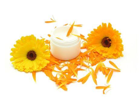 Hand-made beauty cream with flowers (calendula)