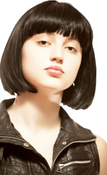 Young beautiful woman with black hair