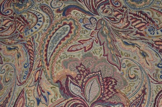 closeup view of paisley patterned fabric