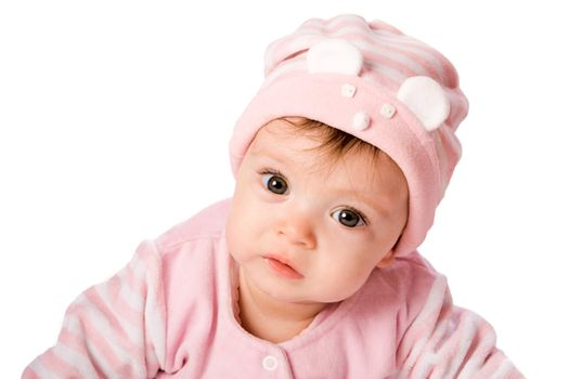 Adorable Seven month Baby girl wearing pink suite