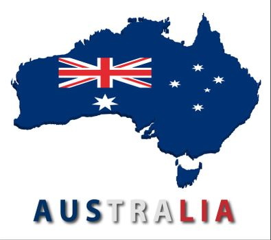 Australia territory with flag texture. Illustration. EPS10