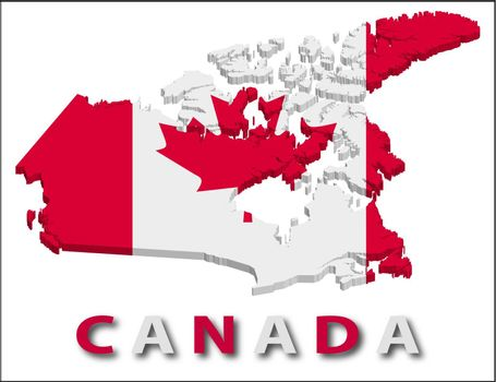 Canada territory with flag texture. Illustration. EPS10