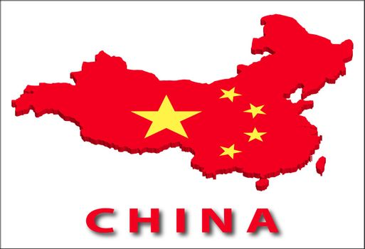 China territory with flag texture. Illustration. EPS10