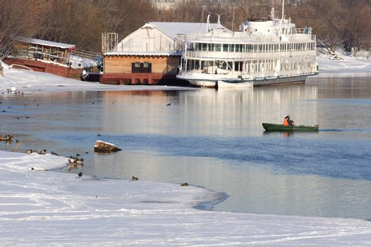 Winter Landscape with Green Boat