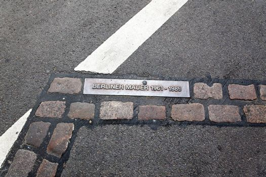 The marks of remains of berlin wall in Berlin Gemany