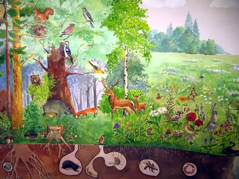 Painted picture with various forest living animals
