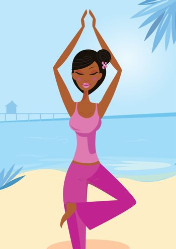 Sexy woman practicing asana - tree yoga pose. Calm blue ocean background behind the girl. Vector Illustration.