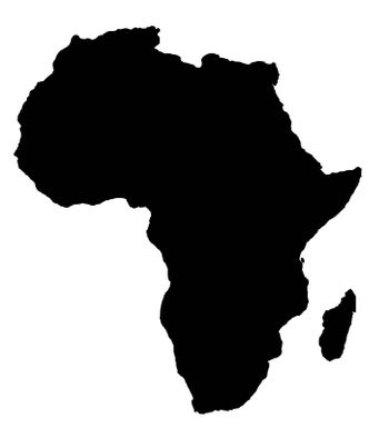 Outline map of Africa continent in black