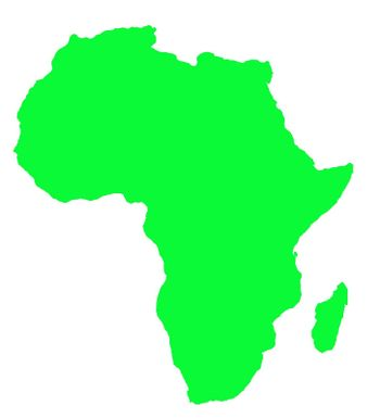 Outline map of Africa continent in green