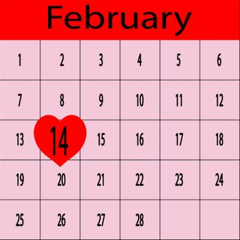 Schedule for February with 14 in heart