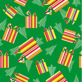 Christmas gifts and trees background