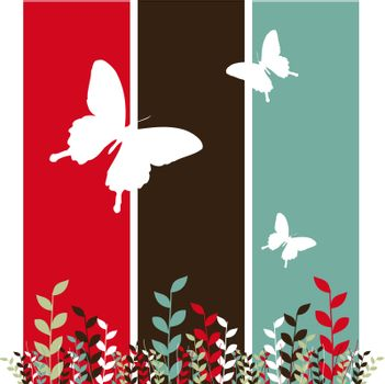 Butterflies and leaves background