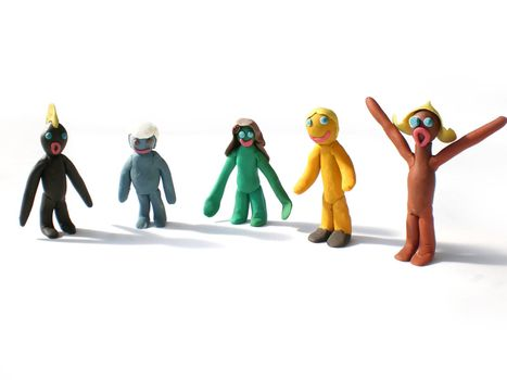 plasticine people figures saying hi on white background