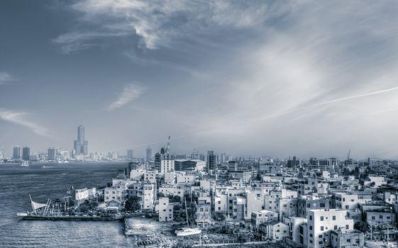 Cityscape of sea port