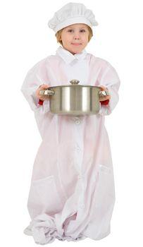 Child with saucepan