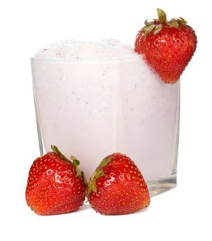 close-up fresh strawberry milkshake, isolated on white