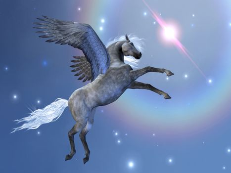 Pegasus flies up among the stars in the sky.