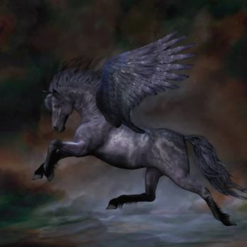 A beautiful black Pegasus stallion flies over the misty water.