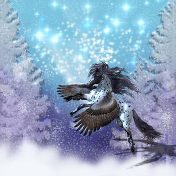 Spotted Appaloosa Pegasus flies during a snowy winter day.