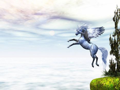 Pegasus, the fabled winged horse, takes to flight from a nearby cliff.