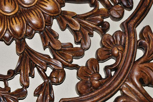 closeup view of detailed wood carving