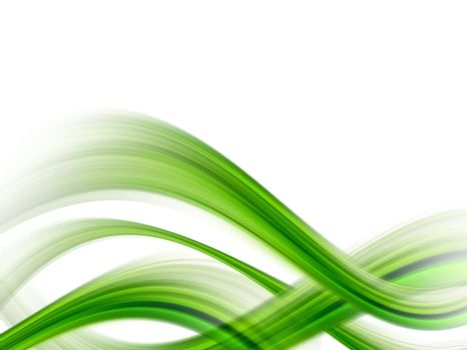 green dynamic waves on white background, illustration