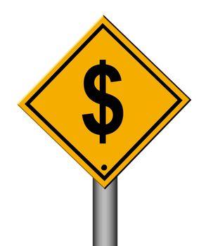 money traffic signal on white background. illustration