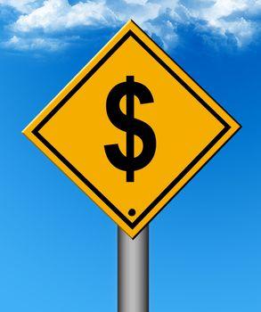 money signal on blue background. business illustration