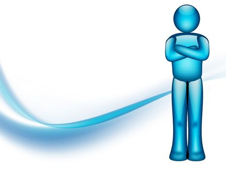 blue person illustration whit white space to insert design