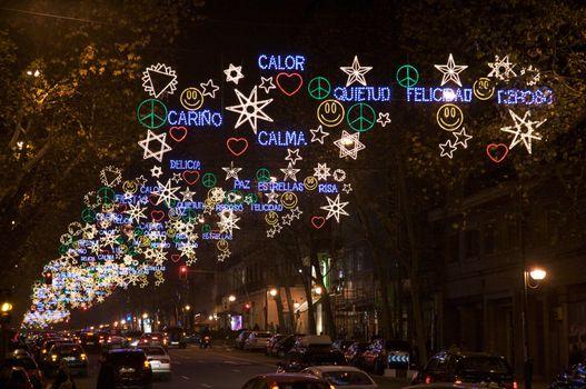 lights in madrid christmas night