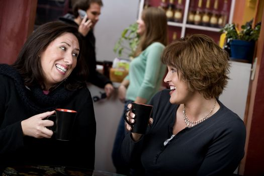 Two women in a coffee house