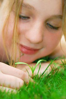 Girl and seedling