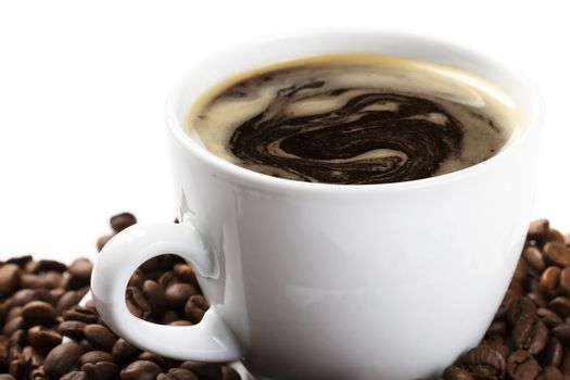 diagonal coffee cup with beans