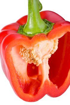 sliced red bell pepper isolated on white