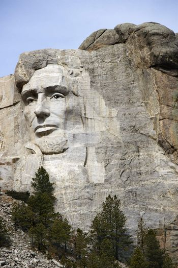 Abraham Lincoln carved in granite at Mount Rushmore National Monument, South Dakota.