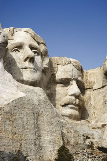 Theodore Roosevelt and Thomas Jefferson sculpture at Mount Rushmore National Monument, South Dakota.