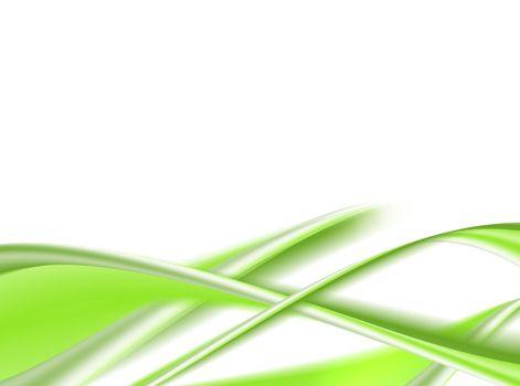 green dynamic waves on white background. illustration