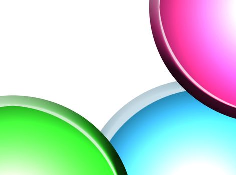 three balls on white background. green magenta and blue colors
