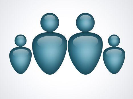 blue family illustration on white background, isolated image